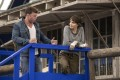 Angelina Jolie with director Taylor Sheridan on the set of Those Who Wish Me Dead. Photo: Emerson Miller/Warner Bros via AP