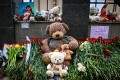 Flowers and toys left to commemorate victims of the shooting at School No 175 in Kazan, Russia on Wednesday. Photo: AFP