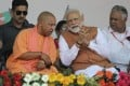 Yogi Adityanath, the chief minister of Uttar Pradesh, with Indian Prime Minister Narendra Modi. Photo: AP