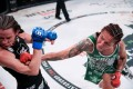 Cris Cyborg drops Leslie Smith late in the fifth round at Bellator 259. Photos: Bellator MMA
