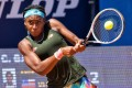 Coco Gauff of the US in action at the 2021 Emilia-Romagna Open in Parma, Italy. She beat China's Wang Qiang in the women's singles final. Photo: DPA