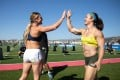Brooke Wells and Kari Pearce at the 2020 CrossFit Games. Both are looking to upset Tia-Clair Toomey this season as the Australian chases her fifth title. Photo: CrossFit Games