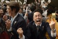 Members of the Japanese delegation to the International Olympic Committee celebrate in 2013 after Tokyo won its bid to host the 2020 Summer Olympic Games. Photo: AFP