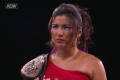 Hikaru Shida with the AEW women's title during an episode of Dynamite. Photo: AEW/Fite TV