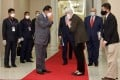 Cambodian Prime Minister Hun Sen greets Wendy Sherman, the US undersecretary of state for political affairs. Photo: APF