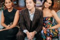Harry Styles with Tracee Ellis Ross (left) and Kendall Jenner (right). Stars like Styles are helping to make nail art and nail polish for men mainstream. Photo: Getty Images