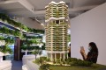 A scale model of Shun Tak Holdings' Park Nova ultra-luxury residence in Singapore on display at the Shun Tak Centre in Sheung Wan on June 9, 2021. Photo: May Tse