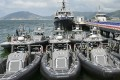 Police unveil 11 new vessels to be used combating crime in Hong Kong's waters during a ceremony at Joss House Bay, Sai Kung. Photo: Handout
