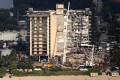 Aerial view of the partially collapsed residential building in Surfside near Miami Beach, Florida, on Sunday. Photo: Reuters