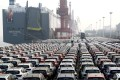 Cars for export wait to be loaded onto a cargo vessel at a port in Lianyungang, Jiangsu province, China. Photo: Reuters
