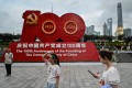 A display commemorating the 100th anniversary of the foundation of the Communist Party of China on the promenade along the Bund in Shanghai. Photo: AFP