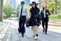 Huawei executive Meng Wanzhou returns to a court after a lunch break on Tuesday. Photo: Reuters