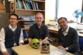 Ni Xijun (left), Christopher Stringer (centre), Ji Qiang worked together on papers analysing the Harbin skull. Photo: Handout