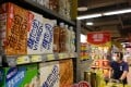 Soy milk drinks produced by Vitasoy are displayed on a supermarket shelf in Hong Kong. Photo: AFP