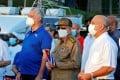 Cuba's President Miguel Diaz-Canel, left, and Raul Castro, centre, in Havana, Cuba on Saturday. Photo: EPA-EFE