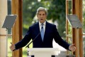 John Kerry delivers a policy speech in the Nash Conservatory at the Royal Botanic Gardens, Kew, London on Tuesday. Photo: AP