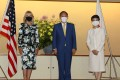 Japanese Prime Minister Yoshihide Suga and his wife Mariko with US first lady Jill Biden (left) at the Imperial Palace in Tokyo on Thursday. Photo: AFP