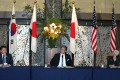 South Korea's First Vice-Foreign Minister Choi Jong-kun, Japanese Vice-Foreign Minister Takeo Mori and US Deputy Secretary of State Wendy Sherman attend a joint media briefing after trilateral talks in Tokyo. Photo: EPA-EFE