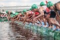 A false start caused by a media boat brought controversy to the triathlon. Photo: Xinhua