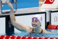Siobhan Haughey flashes a silver smile after finishing second in the women's 200m freestyle at the Tokyo Olympics. Photo: AFP