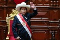 Pedro Castillo is seen in his signature sombrero after his investiture ceremony as head of state in Lima, Peru on Wednesday. Photo: Presidency of Peru via EPA-EFE
