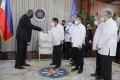 Philippine President Rodrigo Duterte (centre) greets US Secretary of Defence Lloyd Austin at Malacanang Palace in Manila on Thursday. Photo: Philippines' Presidential Photographers Division via AFP