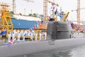 The commissioning ceremony for the South Korean Navy's Dosan Ahn Chang-ho submarine takes place at a dock on the southern island of Geoje. Photo: Handout