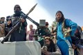 Taliban fighters in Afghanistan's Laghman province on Sunday. Photo: AFP