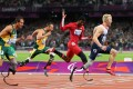 Gold medallist Jonnie Peacock of Britain leads the way during the men's 100m T44 final at the London 2012 Paralympic Games. Photo: Xinhua