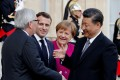German Chancellor Angela Merkel (centre) has been at the centre of the European Union's relations with China. Photo: Reuters