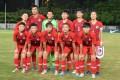 The Hong Kong women's representative football team line-up ahead of playing the Philippines at Tseung Kwan O in September, 2019. Photo: HKFA