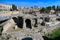 The archaeological site of Herculaneum in Ercolano, near Naples, Italy with Mount Vesuvius in the background. Photo: AFP