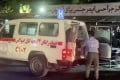 People arrive at a hospital after the attack at Kabul airport on Thursday. Photo: Reuters TV via Reuters