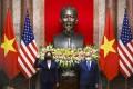 US Vice-President Kamala Harris (left) and Vietnamese President Nguyen Xuan Phuc pose at the Presidential Palace in Hanoi, Vietnam, on Wednesday. Photo: AP