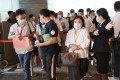 Potential Buyers line up at the sales office of SHKP's Wetland Seasons Bay at International Commerce Centre (ICC) on August 28, 2021. Photo: Edmond So