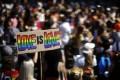 People demonstrate at the Zurich Pride parade in Zurich, Switzerland on Saturday. Photo: Keystone via AP