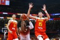 China's Zhou Qi (No 15) in action against Venezuela in the 2019 Fiba Basketball World Cup in China. Photo: Reuters