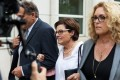 Nancy Salzman (centre), former president and co-founder of NXIVM, arrives at federal court in New York before her sentencing on Wednesday. Photo: Bloomberg