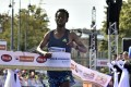 Winner Ethiopia's Derara Hurisa reacts as he crosses the finish lane during the 38th edition of the Vienna City Marathon only to be disqualified for wearing shoes with 5cm thick soles. Photo: AFP