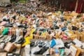 """""""Oceans of parcels"""" arrived at Chinese universities as new students moved in ahead of the school year. Photo: Baidu"""