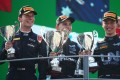 Dan Ticktum, Oscar Piastri and Zhou Guanyu celebrate on the podium after the feature race of the Formula Two 2021 Italian Grand Prix in Monza. Photo: Twitter/Formula Two