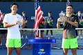 Hong Kong tennis player Coleman Wong with doubles partner Max Westphal of France after the US Open boys' double final. Photo: arckphoto/arckimages.com