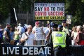 Anti-vaccination protesters in London on September 8. All children aged 12-15 will be offered Covid-19 vaccinations, the British government announced on Monday. Photo: EPA-EFE