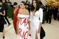 US congresswoman Alexandria Ocasio-Cortez (left) and fashion designer Aurora James attend Met Gala in New York on Monday. Photo: AFP