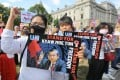 Protesters in London rally against Myanmar's military. Photo: ZUMA Press Wire/dpa