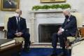 President Joe Biden meets with Israeli Prime Minister Naftali Bennett in the Oval Office on August 27. File photo: AP