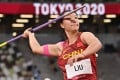 Liu Shiying of China throws in the women's javelin final at the Tokyo 2020 Olympic Games in the Tokyo National Olympic Stadium in Japan. Photo: AFP