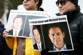 Protesters outside an extradition hearing for Huawei Technologies executive Meng Wanzhou in Vancouver in 2019 calling for China to release Canadian detainees Michael Spavor and Michael Kovrig. Photo: Reuters