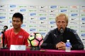 Jorn Andersen and North Korean player Pak Kwang-ryong at the prematch press conference of the Asian Cup qualifiers against Hong Kong in 2017. Photo: Chan Kin-wa