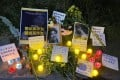 A makeshift memorial shrine from 2020 in honour of Lhamo, who was murdered by her ex-husband. Photo: Weibo